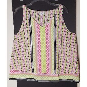 Crown and Ivy Tank Pink & Green Petite Large